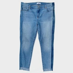 LOFT Modern Skinny Jeans Step Fray Hems 14